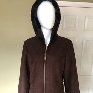 Brown Faux Fur Lined hooded Overcoat Ladies M
